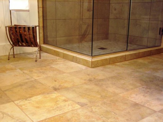heated ceramic bathroom floor
